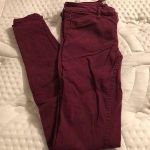Maroon hollister skinny jeans